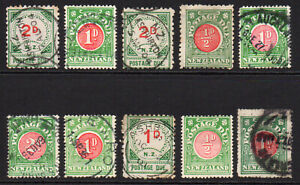 New-Zealand-10-Early-Postage-Due-Stamps-Mounted-Mint-and-Used-few-faults-7378