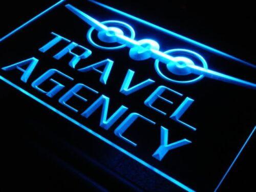 i048-b OPEN Travel Agency Reklame schild Light Sign