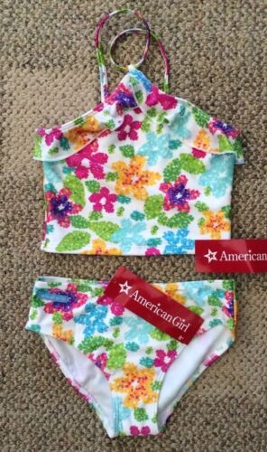 * American Girl 2 Piece Floral Tankini Swimsuit for Girls Size 6 XS Multi-Color