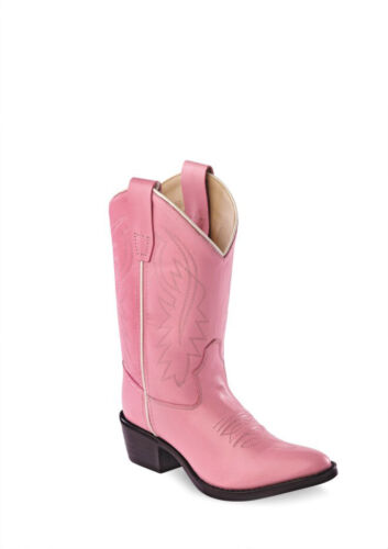 Old West Kids Western Cowboy Boots Corona Calf Leather Pull On Narrow J Toe Pink
