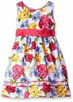 Girls Size 8 10 American Princess White Floral Formal Shantung Dress With Piping