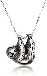 Sterling Silver Sloth Pendant Necklace Inspired Animal Jewellery for Women Girls