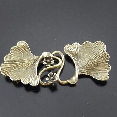 04625 Antiqued Bronze Retro Brass Jewel Beauty Flower Leaf Clasp Hook Charm 4pcs