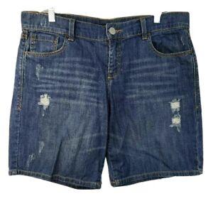 Soho NY & Co Jeans Bermuda Denim Shorts Soft Distressed Torn Ripped Womens 8