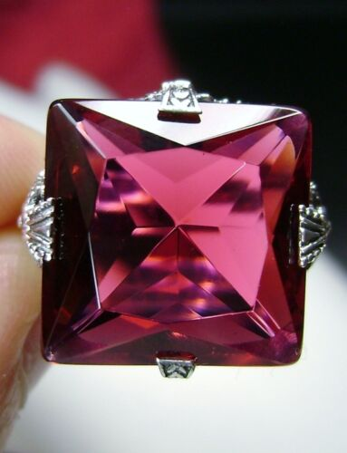 12ct Square Sim Ruby Gem Sterling Silver Victorian Filigree Ring {Made To Order}