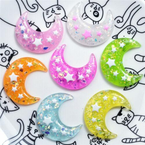 Random 10 pcs Glitter Resin Moon Cabochons Decors DIY Jewelry Making 31x32mm