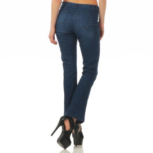 Vivance Jeans 268-074 Bootcut Schlaghose Jeans Hose Damen Blau Used Stretch Blue
