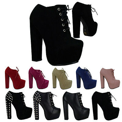 B3D Womens Block High Heels Concealed Platform Lace Up Ladies Ankle Boots Shoes