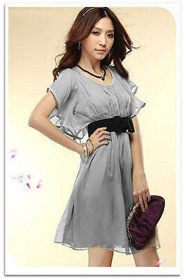 Women Chiffon Dress Short Sleeve Round Neck Casual Mini Dress Cocktail Summer