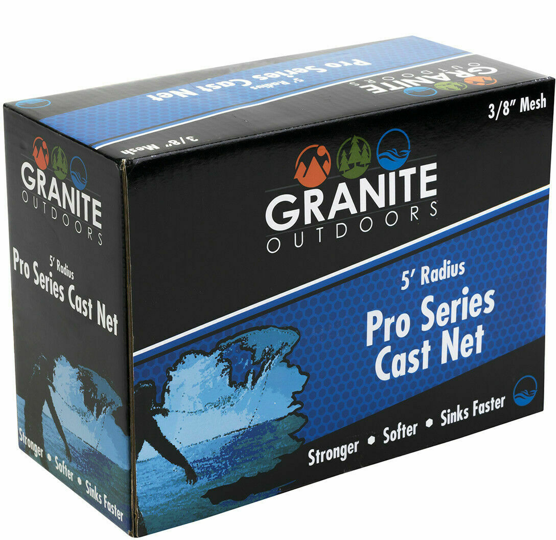 NEW Granite Outdoor Pro Series Cast Net 38 mesh 5' Radius Stronger sinks fast