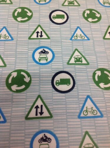 Fabric Freedom Retro Road Trip Signs Fabric By The Half Metre In Blue