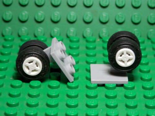 Set of 2 New LIGHT BLUISH GRAY Landing Gear Dual  WHITE Wheels LEGO