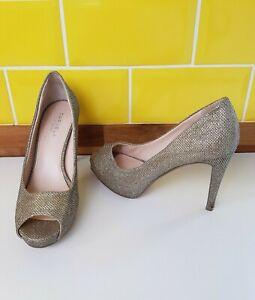 Carvela-Kurt-Geiger-Gold-Sparkly-Glitter-Peep-Toe-Court-Shoes-UK-5-Stiletto-Heel