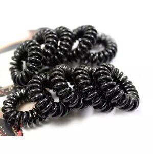 10 x Telephone Cord Wire Bobble Tie Scrunchie Hair Band Ring Black ... 61adffc182b
