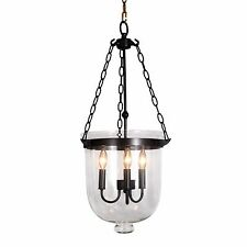Black Bronze Bell Shaped Clear Glass Jar Shade Chandelier Pendant hundi Lantern