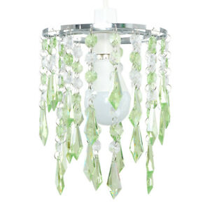 2 tier green clear acrylic crystal ceiling light lamp shades image is loading 2 tier green clear acrylic crystal ceiling light mozeypictures Image collections
