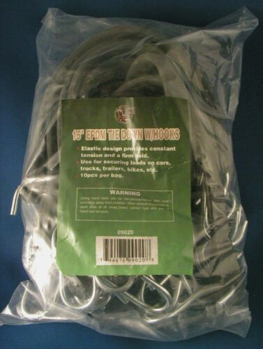"""15/"""" EPDM RUBBER TIE DOWN CORD 10 Pack NEW Chrome Hooks Bungee Strap Rope Elastic"""