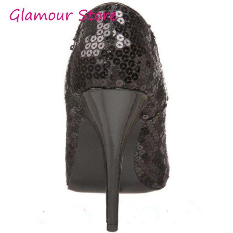 Sexy tacco DECOLTE' PAILLETTES tacco Sexy 13 NERO n. 38 scarpe donna fashion GLAMOUR c85244