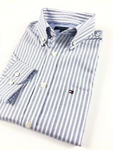 TOMMY-HILFIGER-Shirt-Men-s-Blue-White-Stripe-Poplin-Regular-Fit