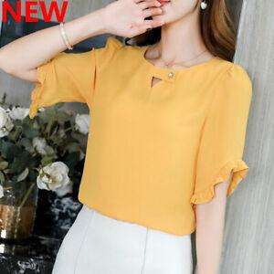 Shirt-Top-Women-Ladies-Chiffon-Short-Sleeve-Loose-T-Shirt-Fashion-Summer-Blouse
