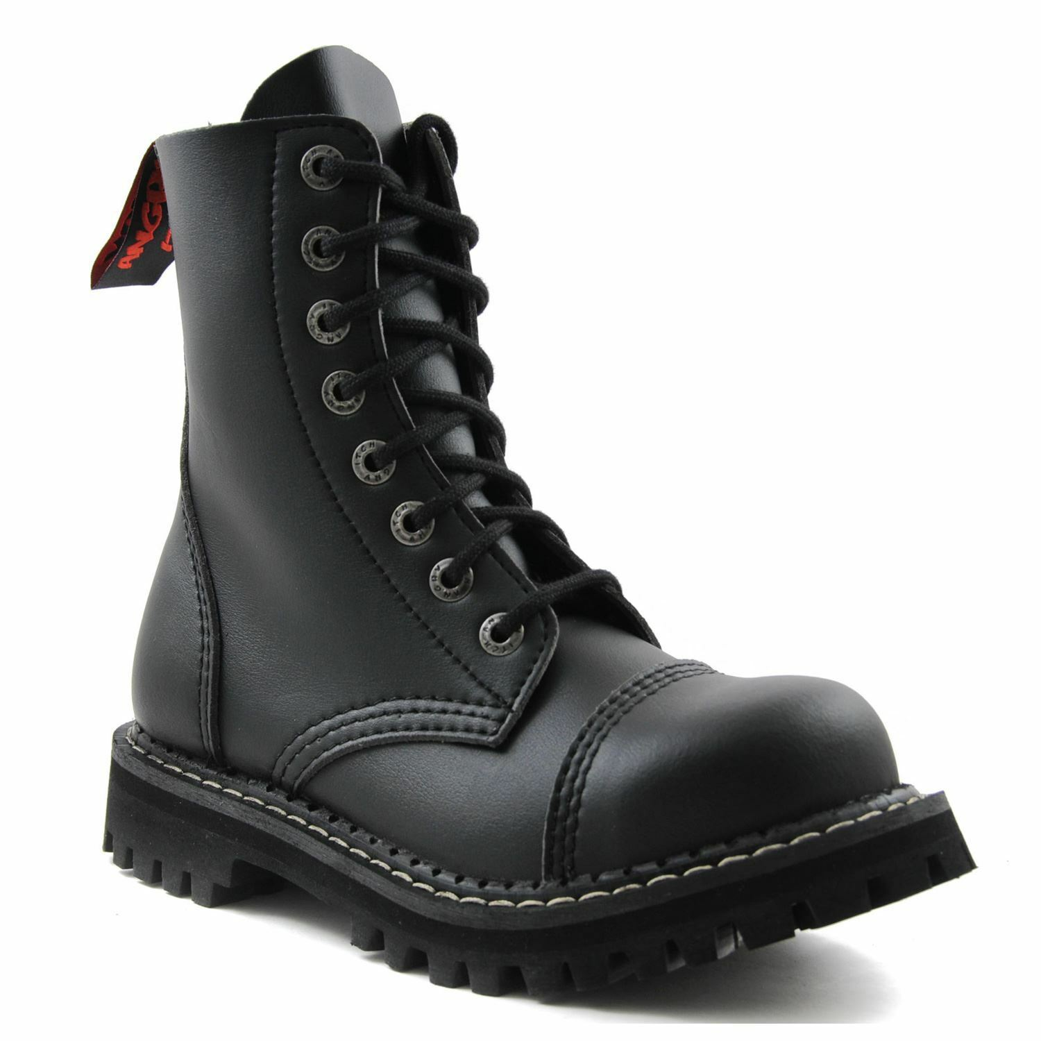 Angry Itch 8 Hole Black Combat Vegan Leather Army Ranger Boots Steel Toe Safety
