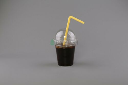 SMOOTHIE PET CUPS AND DOMED LIDS Slush Milkshake ICED COFEE Disposable 16oz 12oz