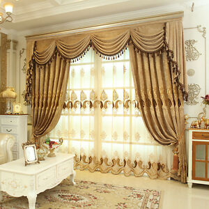 Image Is Loading Luxury Embroidered Velvet Waterfall And Swag Valance Curtains