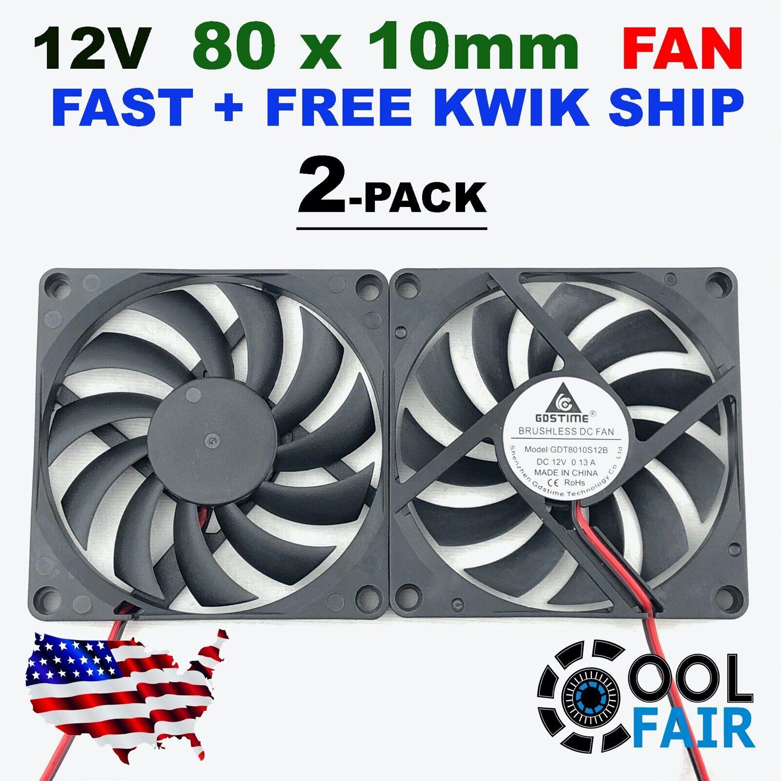 12V 80mm x 10mm Cooling Case Fan 8010 2pin 80x80x10mm DC for PC Computer 2 Pcs