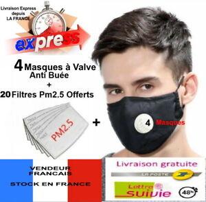 lot-de-4-MASQUES-PROTECTION-TISSU-LAVABLE-REUTILISABLE-VALVE-20-Filtres-Z04