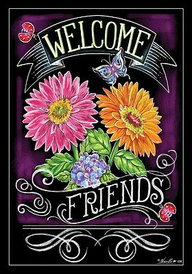 """Welcome Friends Flower Butterfly Ladybug House Flag Large 40"""" x 28"""""""