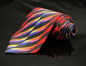 Vitaliano-Pancaldi-Mens-Silk-Necktie-Bright-Red-Black-Weave-Art-Tie-Long
