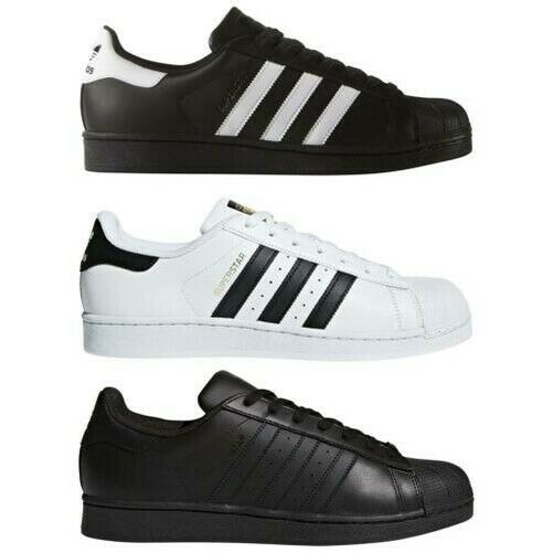 Details about adidas ORIGINALS SUPERSTAR FOUNDATION WHITE BLACK GOLD TRAINERS SHELL TOP SHOE