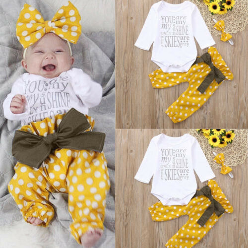 Newborn Baby Girls Print Long Sleeves Romper+Pants+Headband Outfits Sets Yellow
