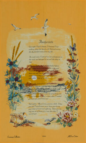 Perfect Gift /'Footprints In The Sand/' Poem Poetic Tea Towel Dish Cloth