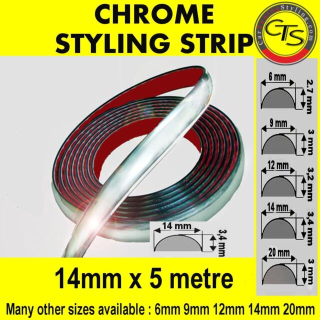 14mm x 5m CHROME CAR STYLING MOULDING STRIP TRIM ADHESIVE