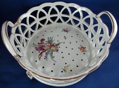 Antique 18thc Fuerstenberg Porcelain Reticulated Strainer Basket Porzellan Korb Extremely Efficient In Preserving Heat Ceramics & Porcelain