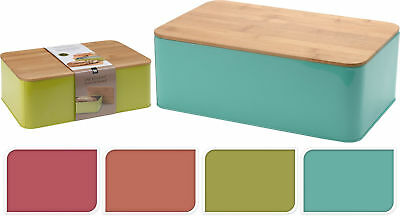 Cassetta Pane Brotbox Pane Contenitore Pane Scatola Box Contenitore Metallo Bambù Coperchio Uni- Design Professionale
