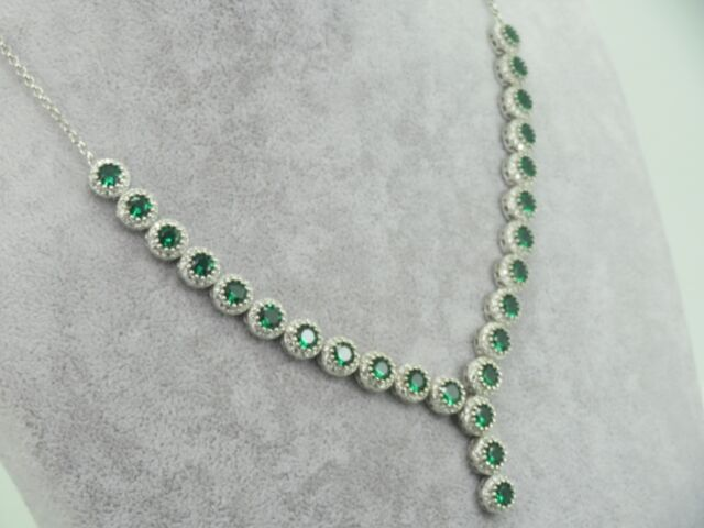 Turkish Handmade Jewelry 925 Sterling Silver Emerald Stone Ladies' Necklace