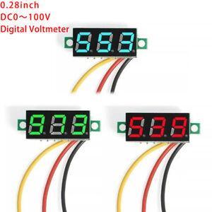 DC-0-100V-Wires-LED-3-Digital-Mini-Voltmeter-Meter-Display-Voltage-Panel-TestT2Y