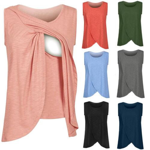 Women/'s Maternity Nursing Wrap Top Cap Sleeveless Double Layer Blouse T-Shirt