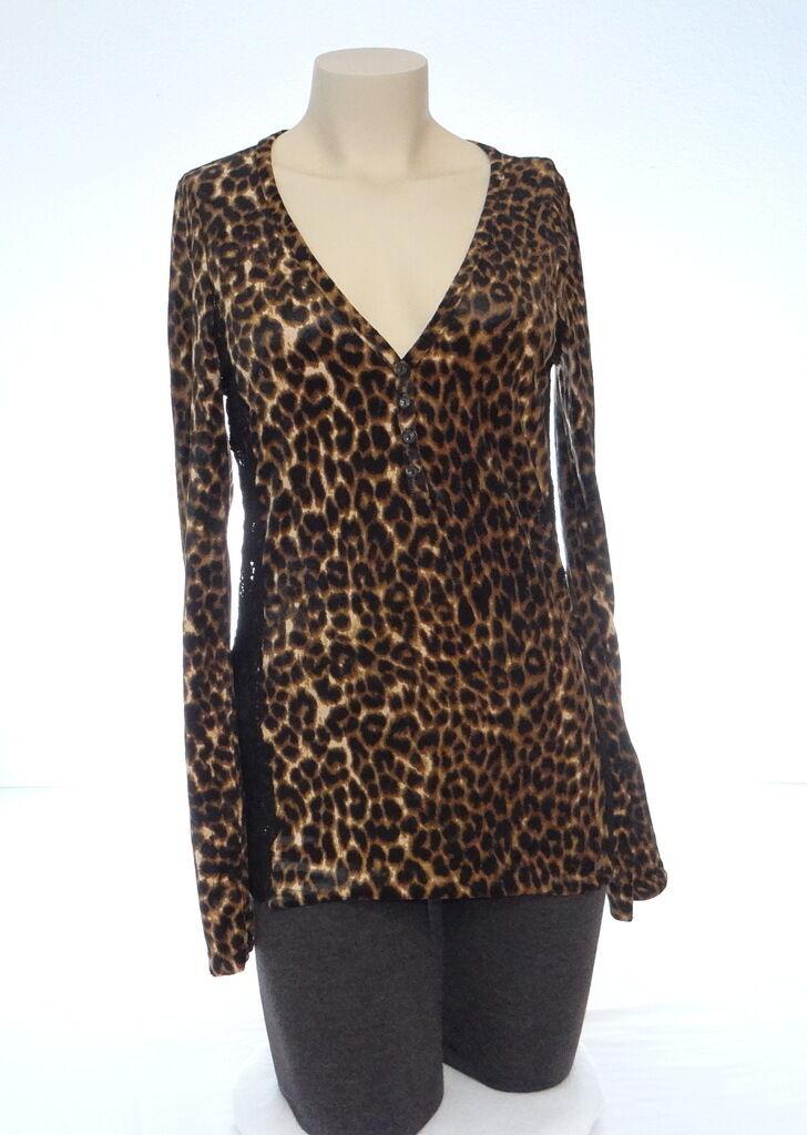 Ralph Lauren Denim & Supply Leopard & Lace V Neck Shirt Top Woherren Medium M NWT