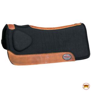 Hilason Western Wool Felt Gel Horse Saddle Pad Grey W/ Cowhide Leather U-P857