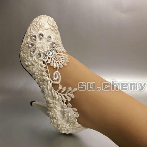 7 cheny Encaje Cm Marfil Boda Tacón 10 Novia Zapatos Su Luz Blanca Zapatillas O5wFUqqx
