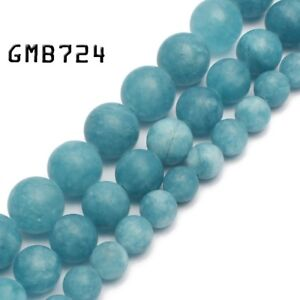 Matte-Blue-Chalcedony-Stone-Round-Loose-Beads-for-Jewelry-Making-6-8-10mm-15-039-039