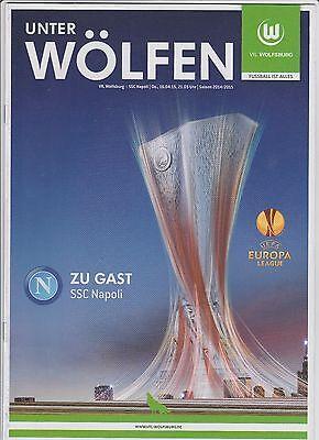 Aufrichtig Orig.prg Europa League 2014/15 Vfl Wolfsburg - Ssc Neapel 1/4 Finale ! Top Hohe QualitäT Und Geringer Aufwand