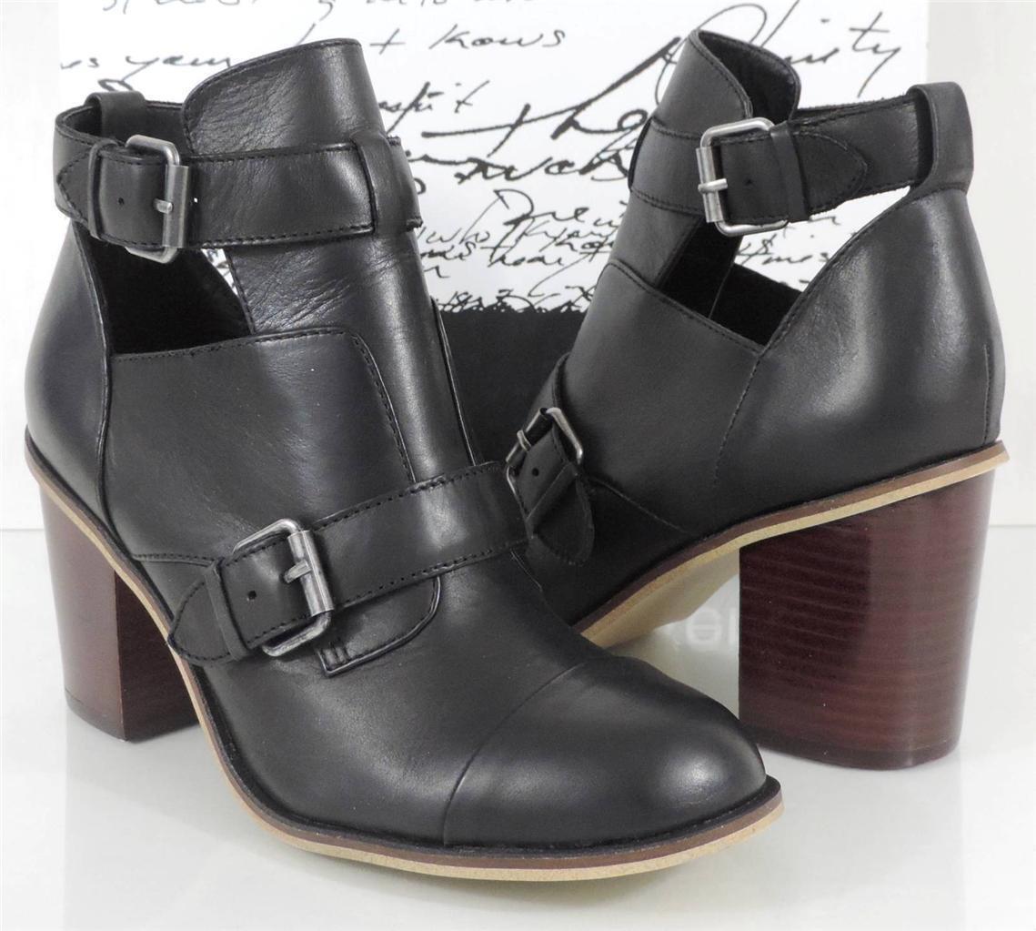 Mujer Zapatos Cuero Tacón Alto Kensie Cameron Sandalias Botines De Cuero Zapatos Negro Talla 8 b881d1