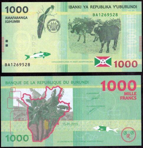 BURUNDI 1000 Francs 2015 UNC Pick 51