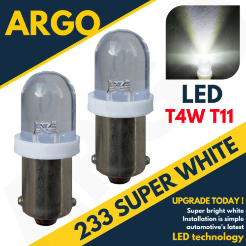 2 x Warm White 12v LED Side Light BA9s 233 Bayonet Car Scooter Bright Bulbs
