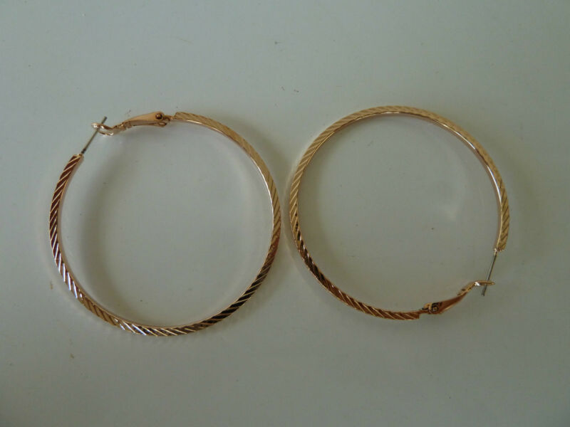 22k Rose Gold Plated Hoop Earrings (50mm Diam.) Womens Quality Fashion Jewellery