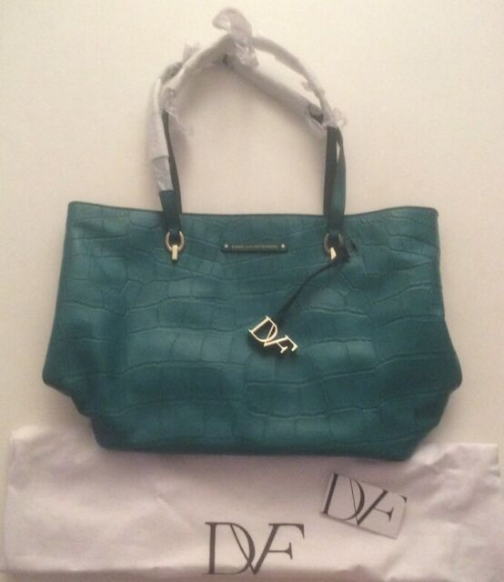 NWT $368 DVF Teal Leather Zipper Voyage Ready To Go Tote Bag